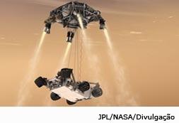 Robô Curiosity aterrisa em Marte