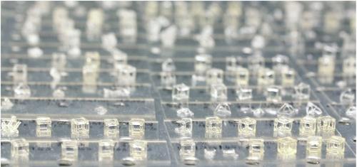 Formas geométricas vazadas produzidas com a nova técnica - Impressão 3D volumétrica.